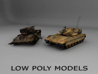 Low poly Merkava 2 tank
