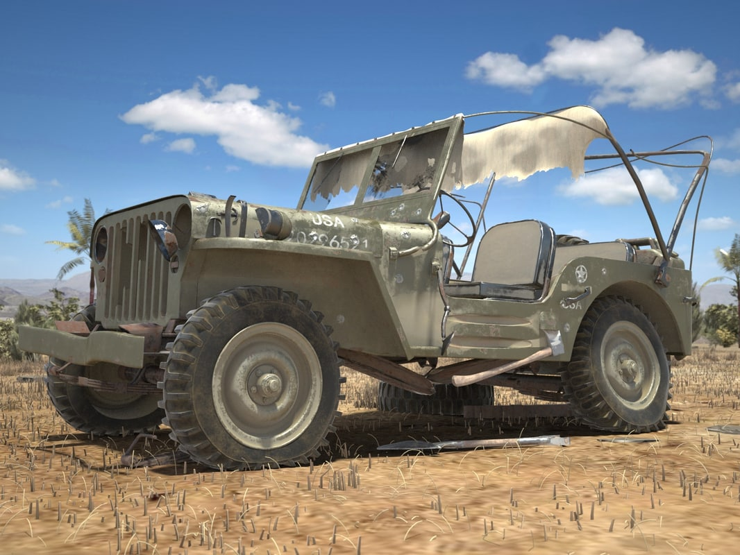 obj jeep willys damaged