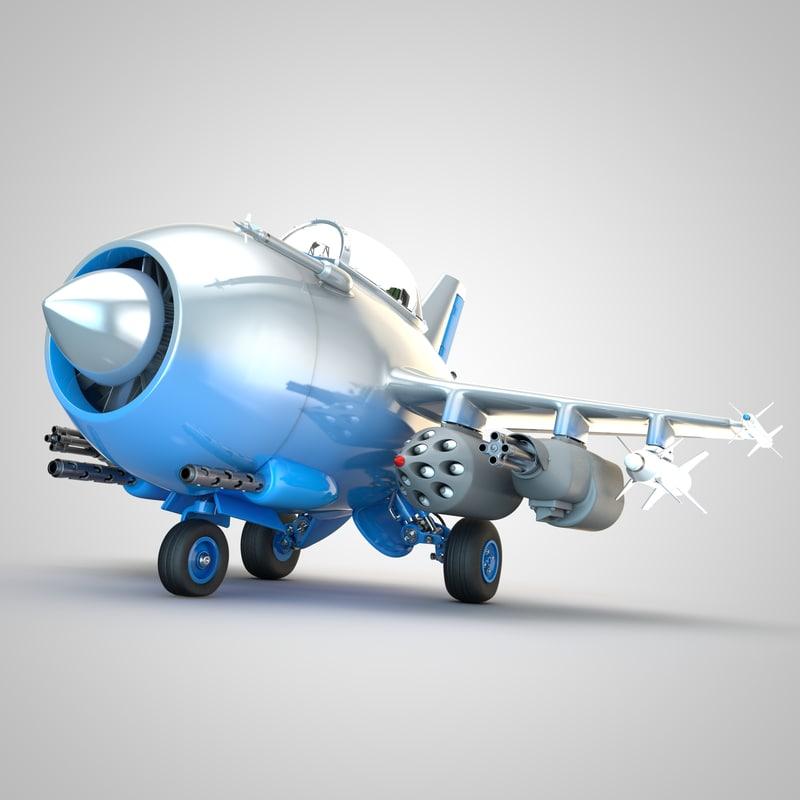3d cartoon fighter jet