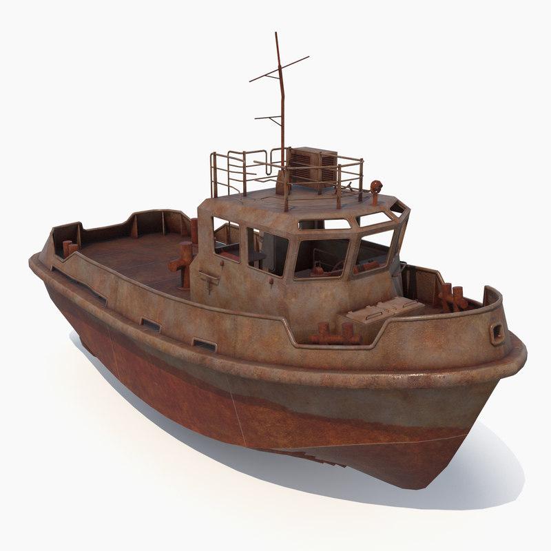 rusty tug boat 3d obj