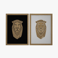 3d wooden lion picture model