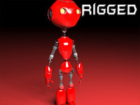 3d robot rigged biped model