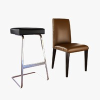 knoll Four seasons bar stool ludwig mies van der rohe and ava high back side chair by room and board