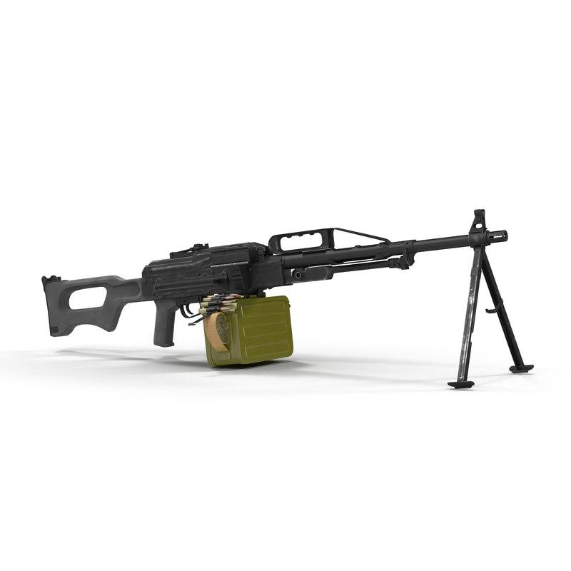 3d model russian light machine gun