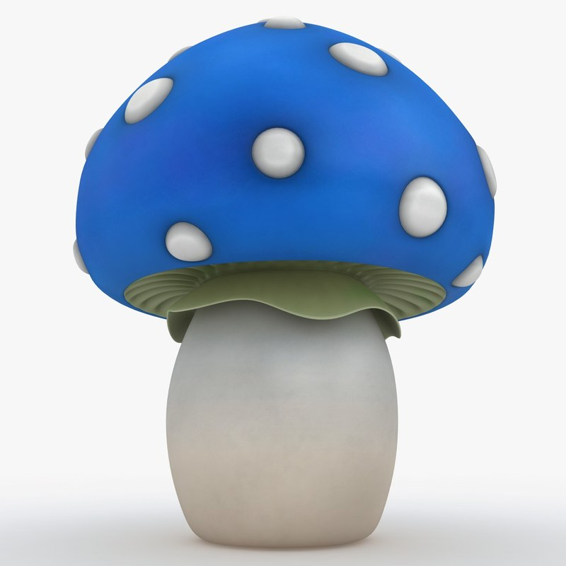 3d model cartoon mushroom blue