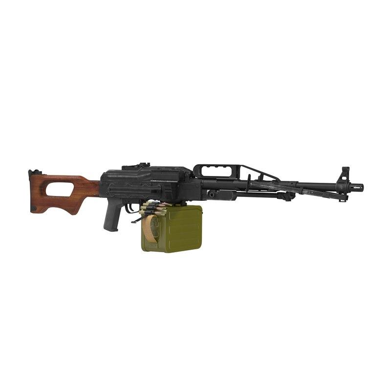Russian Light Machine Gun Pecheneg 2 3D Model