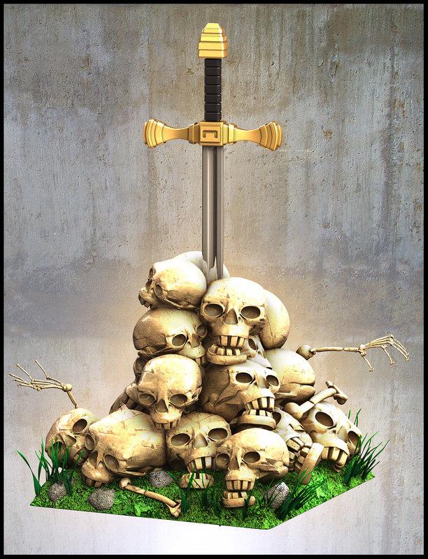 skull skul mountain obj