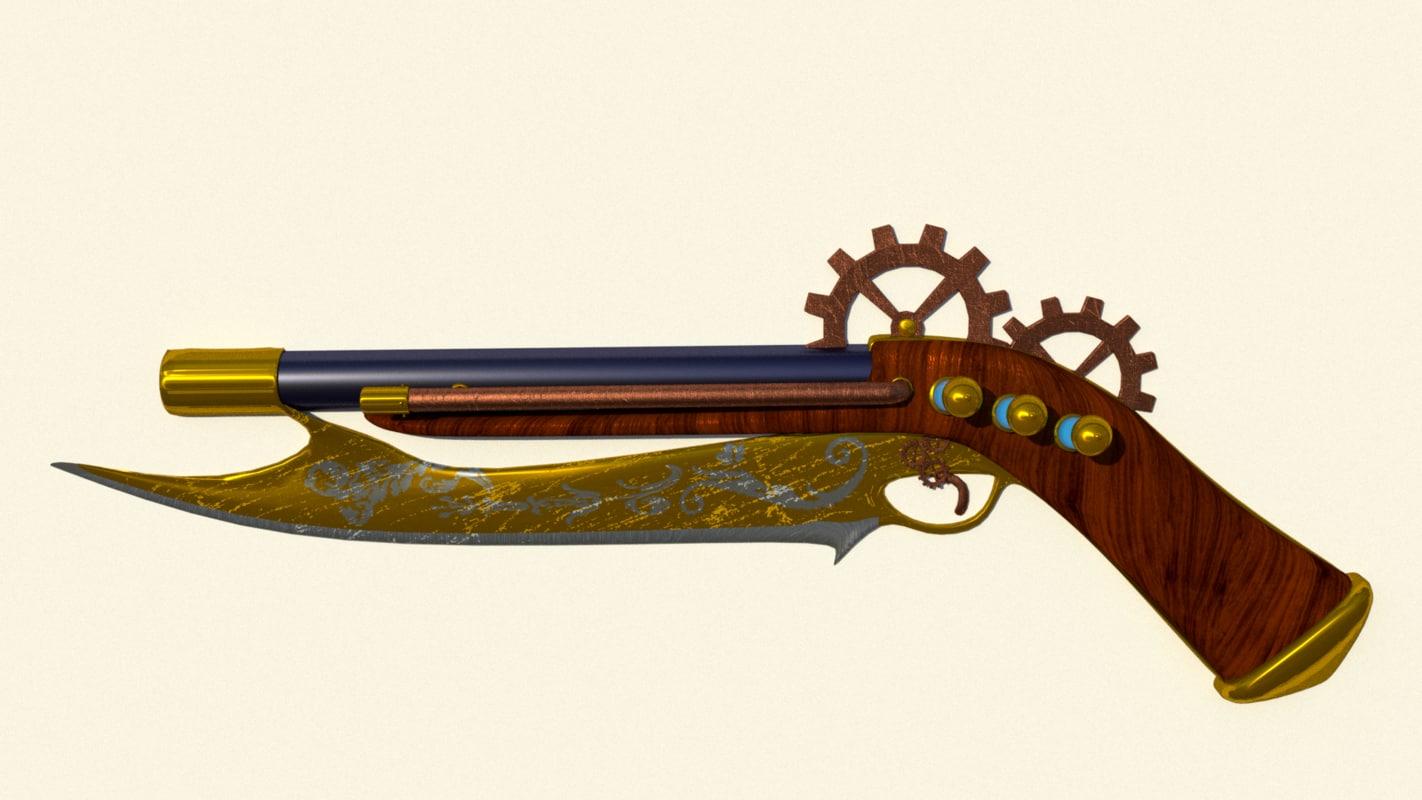3d model steampunk gun