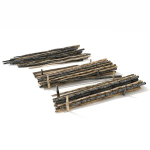 3d pile wood set model