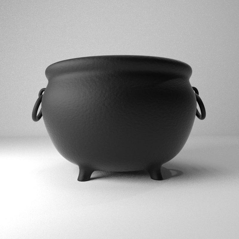 3d cauldron render blender model