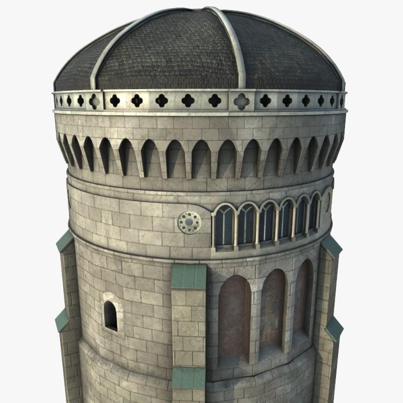 3d old domed tower model
