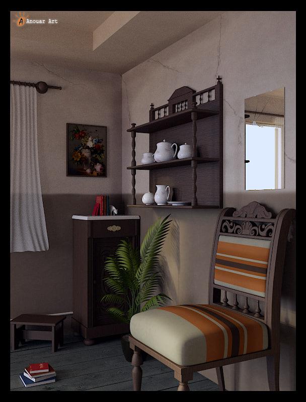 room interior 3d blend