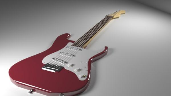 red stratocaster guitar 3d obj