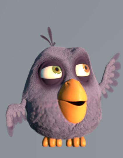 3d cartoon bird character birdy