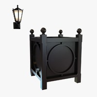 3d model exterior wall sconce metal