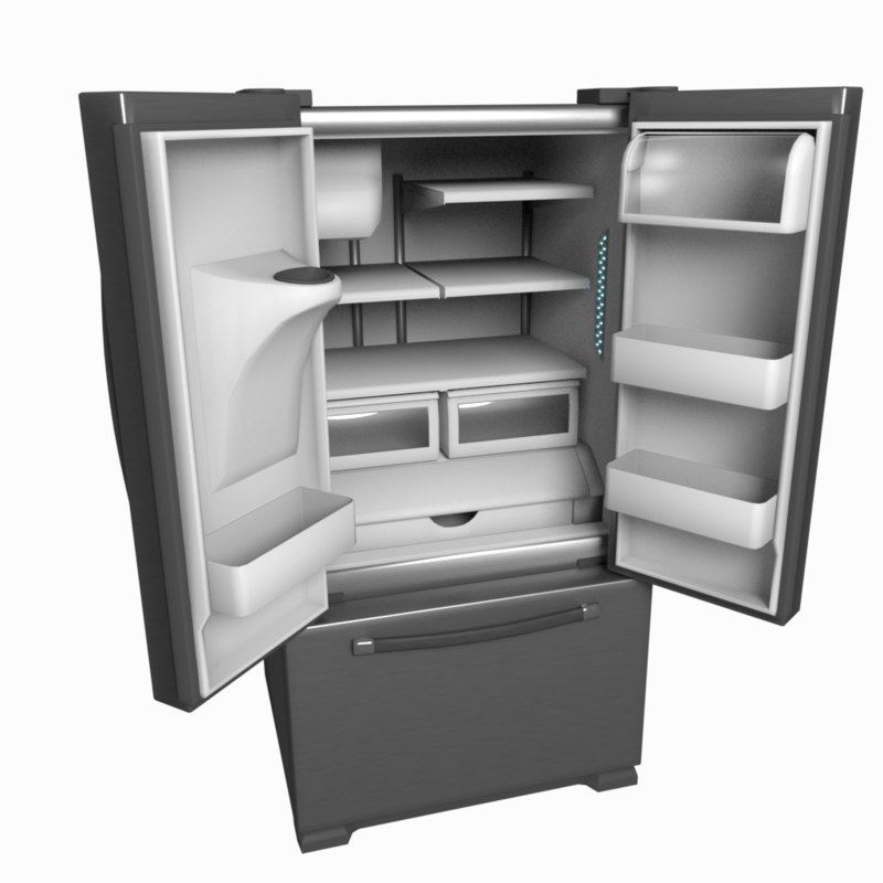 refrigerator french door 3d fbx