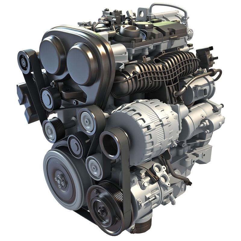 s60 t6 drive-e petrol engine 3d model