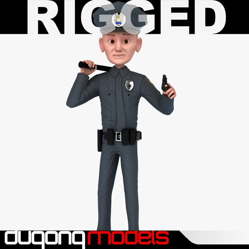 dugm06 rigged cartoon policeman 3d max