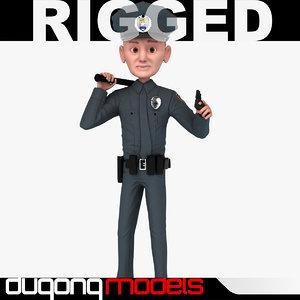 dugm06 rigged cartoon policeman 3d max
