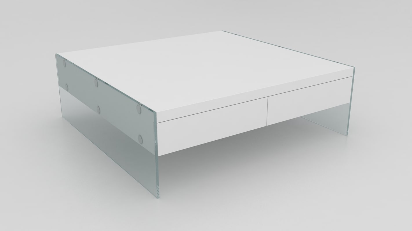 3d modern white floating coffee table