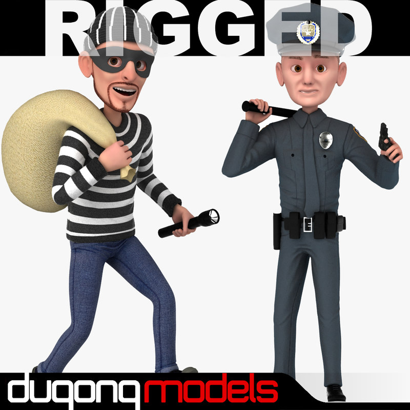 3d dugm06 rigged cartoon policeman model