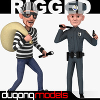 Rigged Cartoon Policeman & Thief