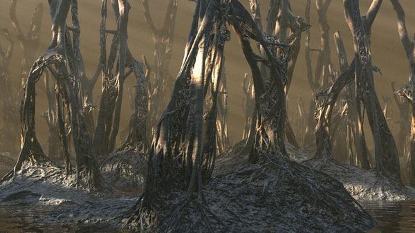 3d wetlands forest model