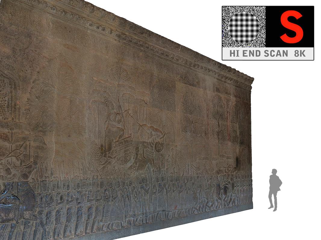 3d model acient walls relief 8k