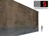 3d model acient walls relief 8k