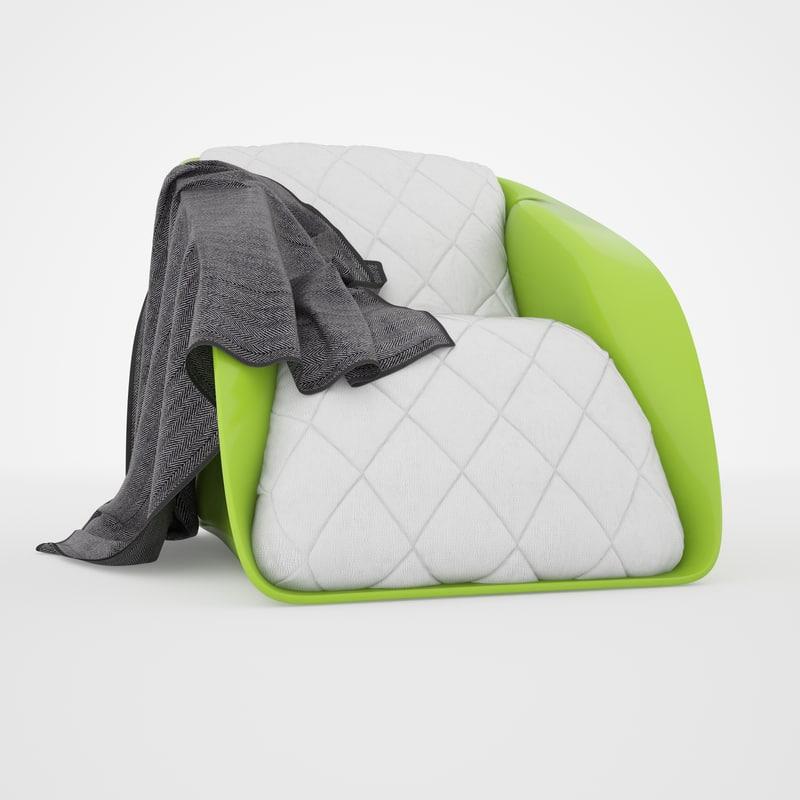 armchair chesterfield shell 3d model