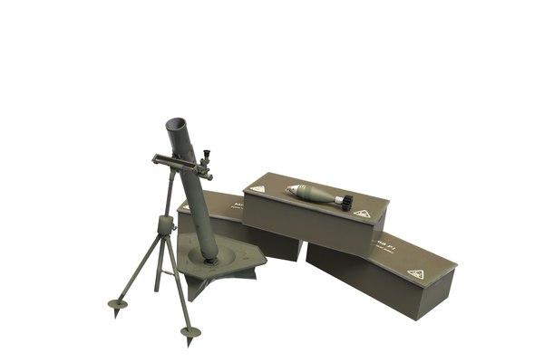 m69a 82mm mortar 3d obj