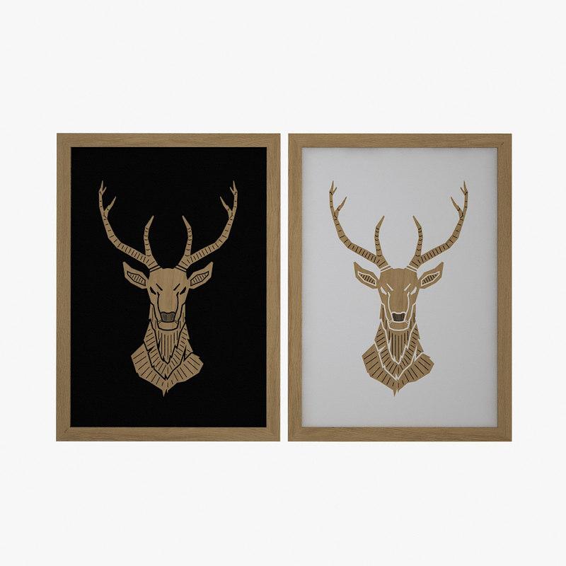 wooden deer picture fbx