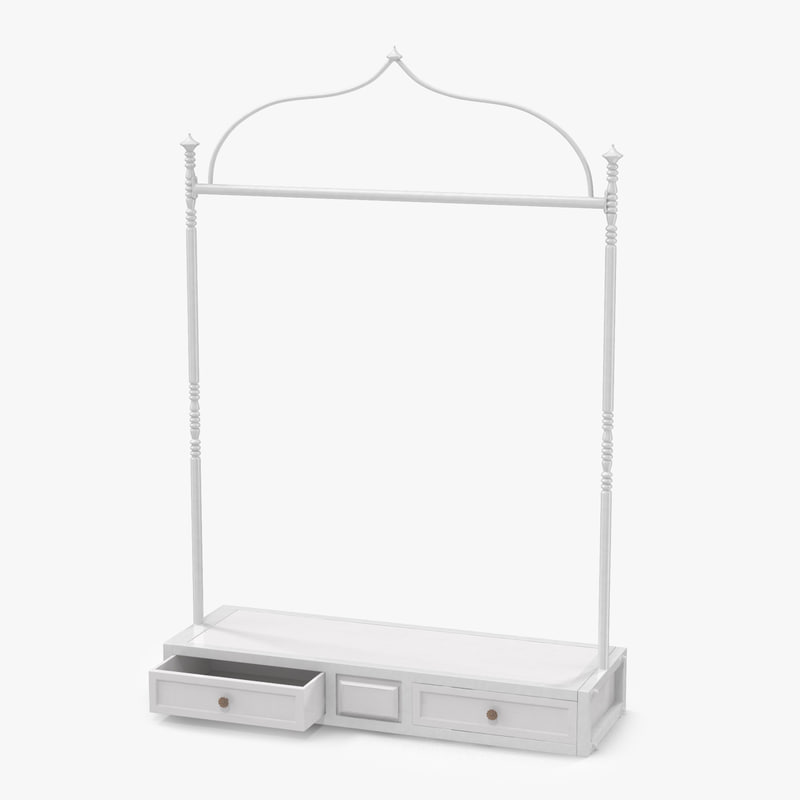3d model of iron clothing display rack