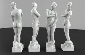 obj statue woman granite