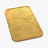 3d gold bar 1g model