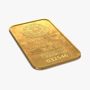 gold bar 2g 3d model