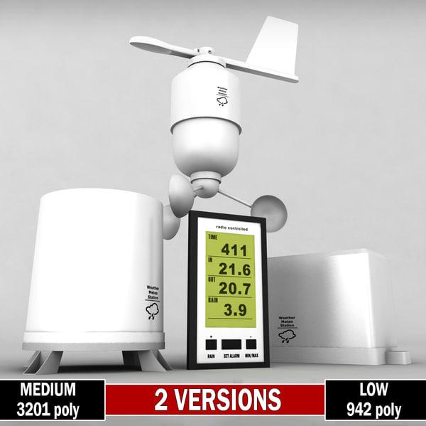 weather meteo station wireless 3d model