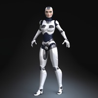 3d model sci-fi female robot