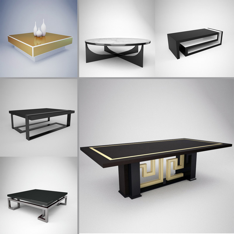 3d versace tables pack coffee model
