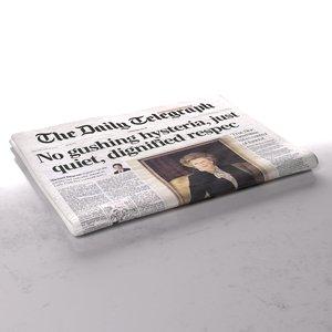 daily telegraph newspaper folds 3d obj