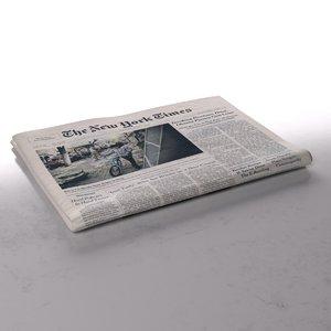 3d model new york newspaper folds