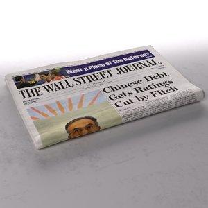 wall street journal newspaper 3d ma