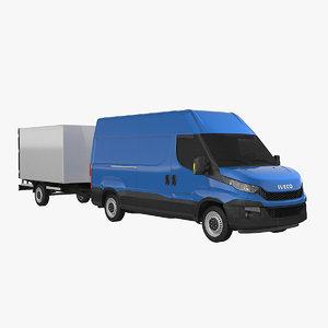 iveco 3520h3 box trailer 3d 3ds