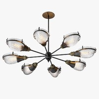 Early Style Quilted Glass Operating Room Light Chandelier