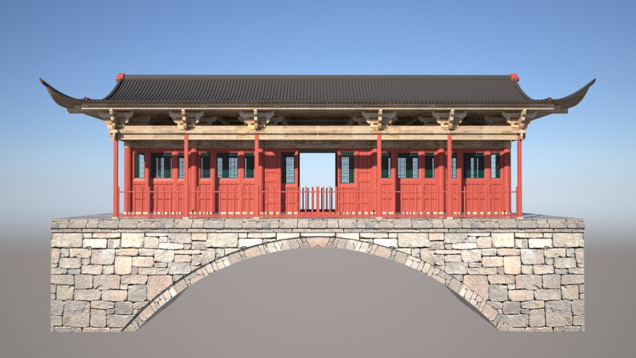 chinese temple bridge 3d model