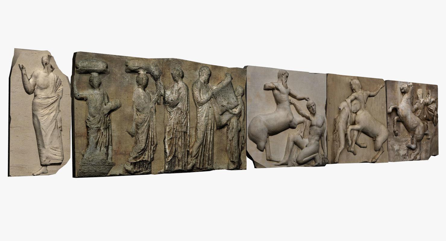 3d model metopes friezes parthenon