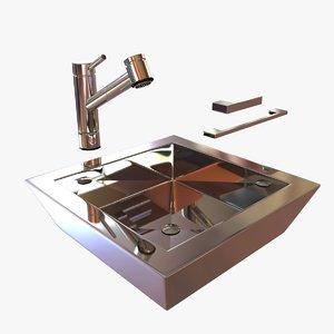 3d model kitchen single-lever mixer kwc