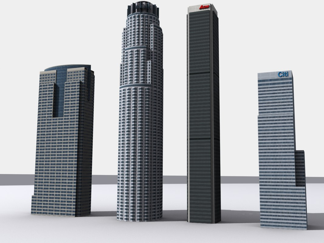 3d model skyscrapers los angeles pack 1