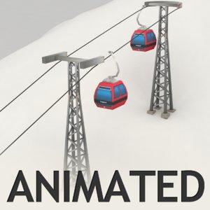 ropeway animation 3d model