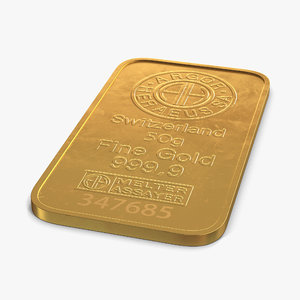 gold bar 50g 3d 3ds